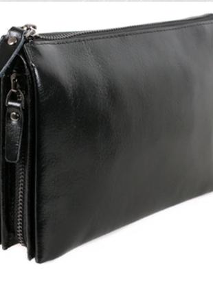 Удобный кожаный клатч черный