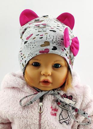 Шапки 44 по 46 размер детская с ушками головные уборы детские