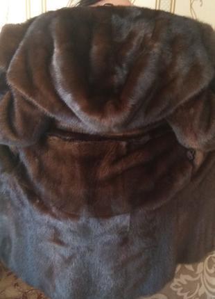 Шикарная норковая шуба р.46 с капюшоном