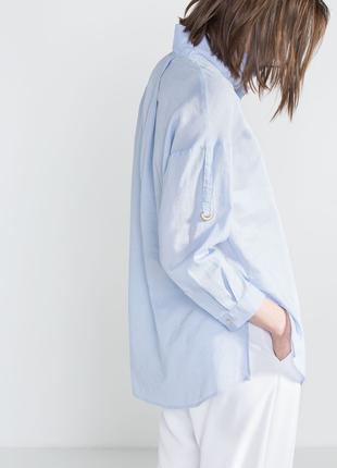 Женская рубашка туника l-xl 50-52 испания хлопок лен cortefiel