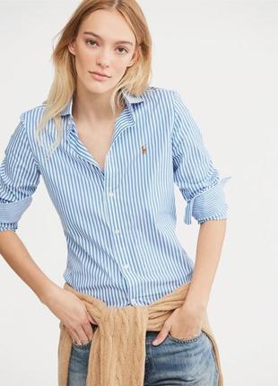 Хлопковая рубашка в полоску ralph lauren
