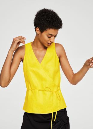 Женская блуза блузка топ l-xl, наш 48-50-52 лен лён