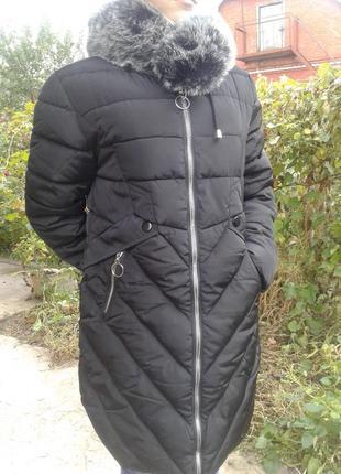 Зимняя удлиненная женская куртка - пальто с меховым воротником...