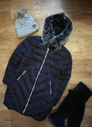 Удлиненная зимняя куртка - пальто пуховик теплая