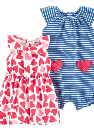 Комплект для девочки carters 2-piece heart dress and striped r...