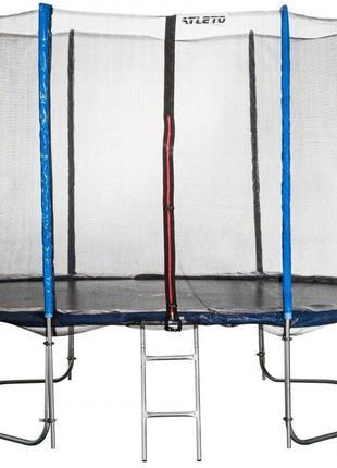 Батут Atleto 404 см з подвійними ногами з сіткою синій