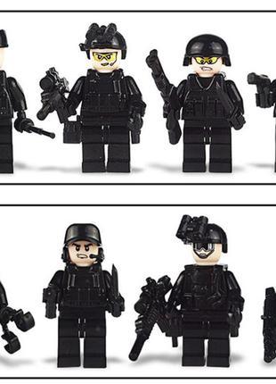 Фигурки лего аналог солдаты, спецназ, оружие 8 штук