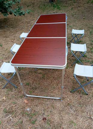 Новинка! Большой стол для пикника 180*60 см + 6 стульчиков