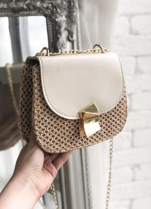 Сумка бежевая сумочка клатч