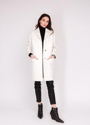Шикарное женское пальто season молочного цвета