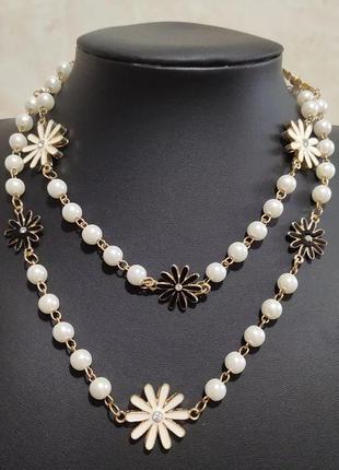 Длинное жемчужное ожерелье цепочка с цветами
