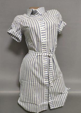 Платье-рубашка женское летнее в полоску