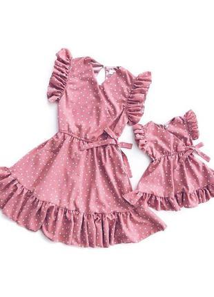Легкие платья в горошек для мамы и дочки