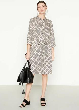 Платье-рубашка из вискозы,цвет розовая пудра с рисунком