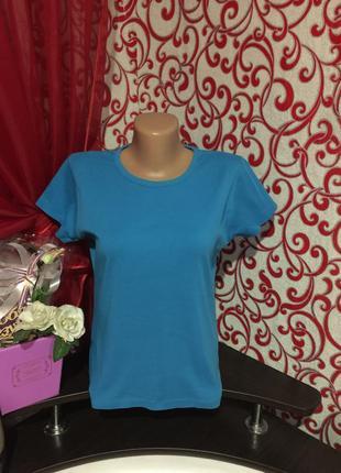 Хлопковая качественная голубая футболка