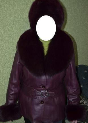 50 - 52 куртка кожаная с меховым воротником