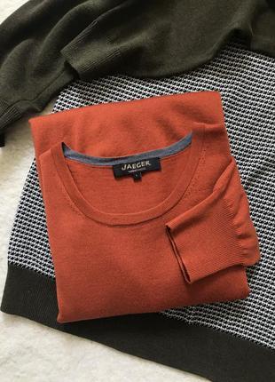 Тонкий шерстяной свитер/джемпер в рыжем/терракотовом цвете