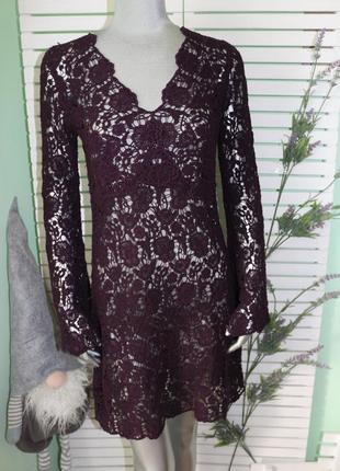 Фиолетовое кружевное платье туника diane von furstenberg