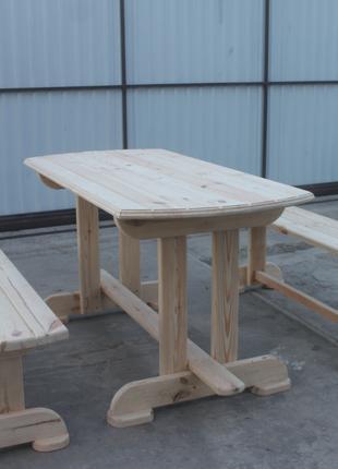 Деревянный стол садовый с лавочками