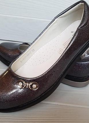 Лаковые туфли для девочки с кожаной стелькой туфлі для дівчинк...