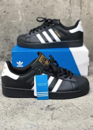 Женские кроссовки adidas superstar black white (черно белые)