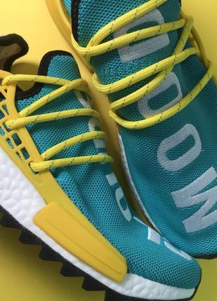 Мужские кроссовки adidas nmd human race green yellow (зеленые)