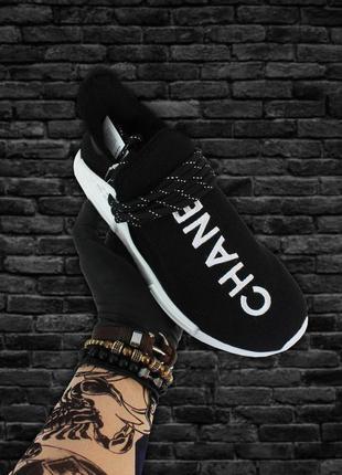 Женские кроссовки adidas nmd human race black white (черно белые)