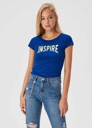 Новая синяя футболка sinsay надпись inspire вдохновляй xs s m l