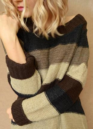 Стильный объемный оверсайз свитер в полоску коричневого, черно...