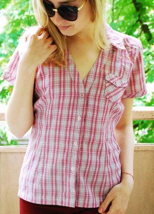 Рубашка в клетку розового цвета на пуговицах с коротким рукавом