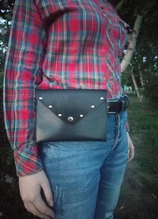 Черная женская поясная сумка, клатч
