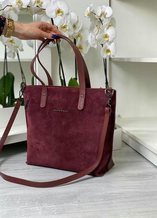 Большая сумка бордового цвета