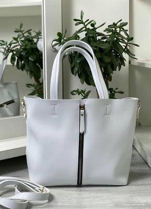 Белая сумка, большого размера