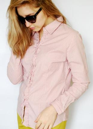 Молодежная рубашка розового цвета в полоску