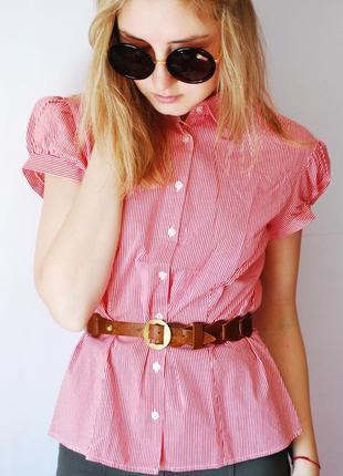 Красивая блуза/рубашка красного цвета в белую полоску