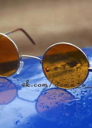 Стильные круглые очки с желтыми линзами, новые, стекло.