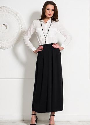 Черная длинная юбка ниже колена на резинке 48-50-52р