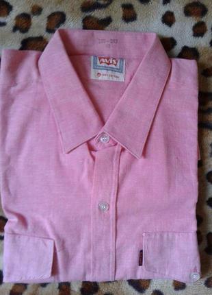 Новая мужская розовая рубашка с длинным рукавом 50-52р