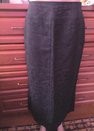 Черная удлиненная плотная юбка ниже колена 48р(12р)