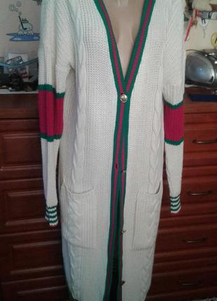 Missguided шикарный длинный вязаный кардиган пальто кофта s-l