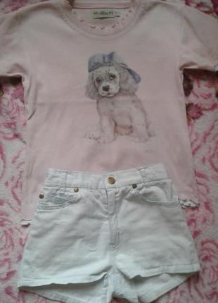 Нежный летний комплект девочке футболка джинсовые шорты 6-7лет