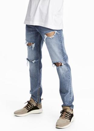 Голубые джинсы h&m , relaxed skinny jeans !