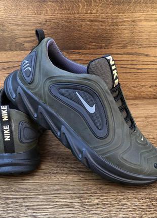 Кроссовки мужские цвета хаки кожаные в стиле Nike