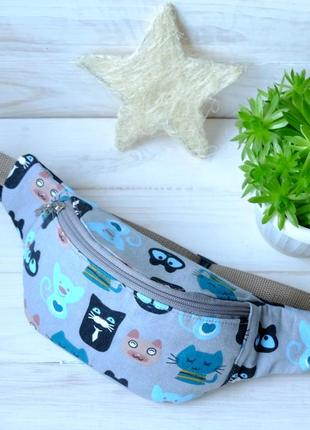 Сумка-бананка с кошками, поясная сумка 39, сумка-бананка з кіш...