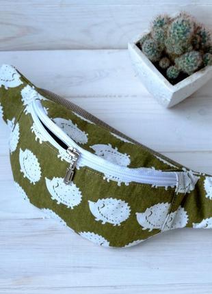 Сумка-бананка с ёжиками, поясная сумка 09, сумка-бананка з їжа...