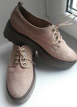 Туфли, броги, оксфорды, ботинки на тракторной подошве stradiva...