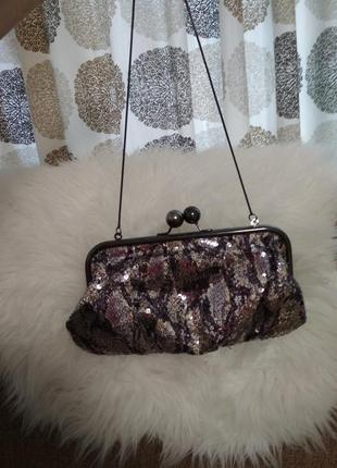 Вечерняя сумочка клатч с пайетками