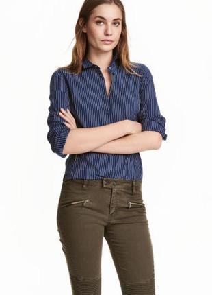 Стильная офисная рубашка в мужском стиле в полоску от h&m,p. 40