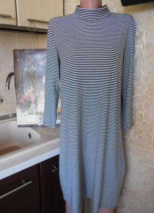 #стильное трикотажное платье в полоску #