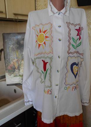#fanty# винтажная оригинальная рубашка с аппликацией  батал #б...
